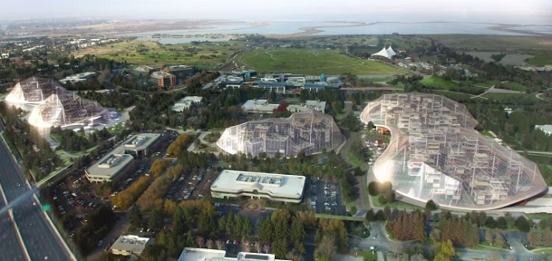 Google just shared plans for a reimagined headquarters campus, sealed in a climate controlled bubble, with movable buildings, self-driving cars, and indoor waterfalls that would make Willy Wonka blush.